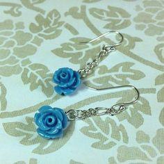 Blue Rose Bead Dangle Earrings Rose Bead Dangle by JewelryCharmers, $15.00