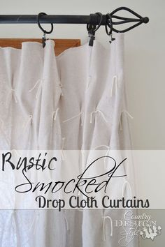 Need curtains that good great but inexpensive?  Here's an easy how to make Rustic Smocked Drop Cloth Curtains. I made 6 panels and a shower curtain for $50! - Country Design Style