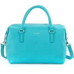 kate spade new york henry lane emmy satchel bag, tropic blue ($321) ❤ liked on Polyvore featuring bags, handbags, purses, bolsas, zip top tote, leather tote purse, leather satchel purse, man bag and handbags totes
