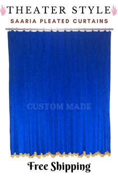 Home Theater Curtains, Stage Curtains, Home Theater Decor, Types Of Curtains, Pleated Curtains, Velvet Curtains, Royal Blue Curtains, Beautiful Interiors, Dining Rooms