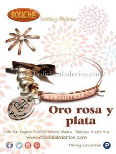Oro rosa y plata #mensajespositivos, #pulserasconmensaje www.bolicheabalorios.com