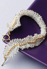 Crystal Bracelet Pattern:  Romantic Ruffle By Kelli Burns from free e-book with 5 patterns.  #Seed #Bead #Tutorial