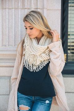 Lattice Tassel Infinity Scarf (Choose Your Color)