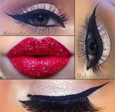Gorgeous bombshell #Makeup.  Love the shimmering lips!