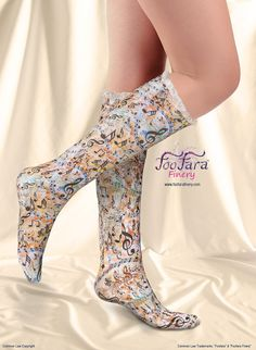 "♥ These cute, colorful, elegant, socks, are made with a soft and silky lightweight technical fabric that is moisture wicking and offers U.V. protection. ""Sumptuous Symphony"" print.♥"