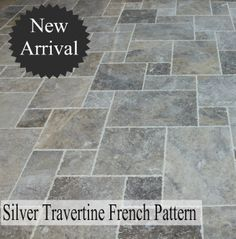 Stone French Pattern - Brushed and Chiseled Silver Travertine
