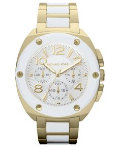 Michael Kors Watch, Women's Chronograph Tribeca White and Gold Tone Stainless Steel Bracelet 43mm MK5731