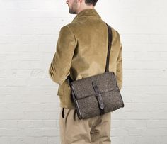 Cherchbi Norwich Medium satchel, brown Herdwyck tweed