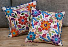 Peruvian Pillow covers Hand embroidered flowers 16 x 16 Sheep & alpaca wool  handmade Set of 2 Cream by khuskuy on Etsy