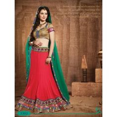 Touch Trends Red Embroidered Lehenga
