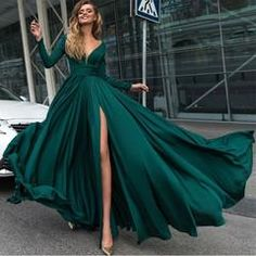Sexy Deep V Neck Long Sleeves Prom Dresses 2018 Leg Split Evening Gowns - emerald green / 6