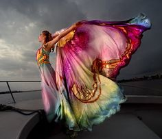 Winged cape in the breeze