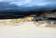 August Storm - White Beach, Coll. Oil on canvas board 32 x 22 in. Chris Bushe, RSW