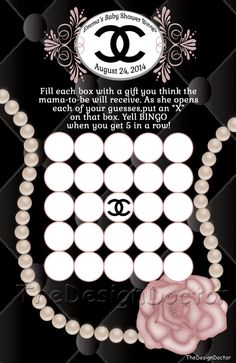 Personalized Custom Hand Drawn Classy and Fabulous CoCo Chanel Inspired Baby Bingo Baby shower game printable digital file set on Etsy, $10.00