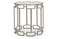 Textured Octagon Side Table, Nickel by Caracole 24 dia by 26H steel and glass $615