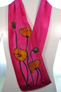 Poppy Silk Scarf Handpainted crepe silk with Yellow by SirenSilks, $61.00