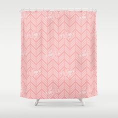Coral Pink Chevron Floral Shower Curtain