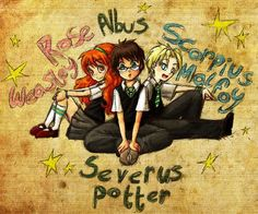 Rose Weasley, Albus Severus Potter, Scorpius Malfoy. Harry Potter Next Generation: THE NEW TRIO!