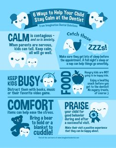 Six ways to help your child stay calm at the dentist. Thank you to Imagination Dental for this great information. Dental Care For Kids, Kids Dentist, Pediatric Dentist, Funny Dentist, Dentist Clinic, Dental Facts, Dental Humor, Dental Hygiene, Children's Dental