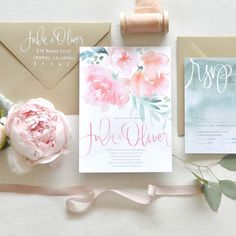 """Brides: Watercolor Invite Suite with Pink Peonies. """"Romantic Suite"""" watercolor wedding invitation, price available upon request, Julie Song Ink"""