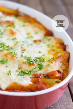 Baked Penne... meaty, creamy sauce with lots and lots of cheese.