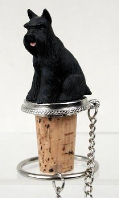 Schnauzer Black with Cropped Ears Bottle Stopper
