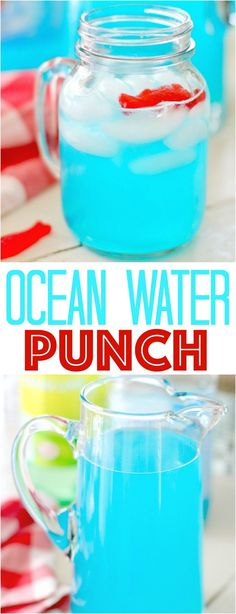 Ocean Water Water Punch recipe from The Country Cook. Only 2 ingredients! Perfect for 4th of July, Memorial Day and summer gatherings!