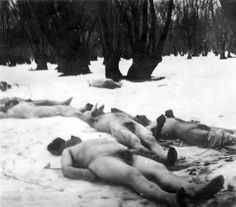 Jilava, Rumania, Corpses cast in the snow after the pogrom, 23/01/1941.