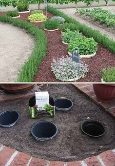 Simple, easy and cheap DIY garden landscaping idea. Simple, easy and cheap DIY garden landscaping Lawn And Garden, Home And Garden, Easy Garden, Mint Garden, Shade Garden, Garden Hose, Garden Art, Front Yard Landscaping, Outdoor Landscaping
