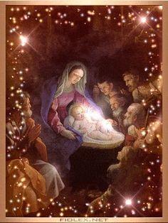 new Catholic animated gifs Merry Christmas Gif, Christmas Nativity Scene, Christmas Scenes, Vintage Christmas Cards, Christmas Wishes, Christmas Pictures, Christmas Greetings, Christmas Time, Holiday