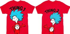 Seuss Thing 1 & Thing 2 Adult Red T-shirt