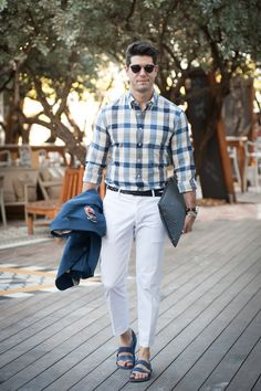 Mens Street Style: Kadu Dantas look is completed with the Fauré Le Page Pochette Zip in Paris Blue.