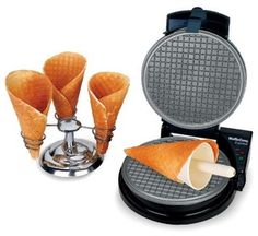 WaffleCone Express - This ice cream cone maker delivers homemade, freshly baked sugar cones in just 2 minutes! It's the perfect item for fun evening dates working together in the kitchen. Cool Kitchen Gadgets, Small Kitchen Appliances, Cool Kitchens, Waffle Cone Maker, Waffle Cones, Waffle Cone Recipe, Sugar Cones, Chef's Choice, Cooking Gadgets