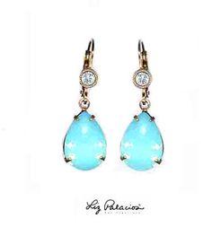 Swarovski Crystal Pacific Opal Teardrop Leverback Earrings by Liz Palacios Liz Palacios, Swarovski Crystals, Opal, Bling, Jewels, Drop Earrings, My Style, Accessories, Jewel