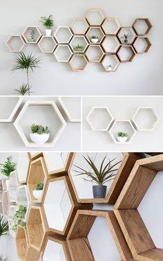 Rustic Hexagon Wall Shelf in Solid Oak