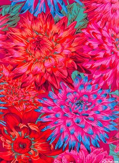 Philip Jacobs for Rowan Fabrics - Cactus Dahlias Flower Wallpaper, Pattern Wallpaper, Wallpaper Backgrounds, Pattern Art, Pattern Design, Textures Patterns, Print Patterns, Divas Pop, Floral Illustrations