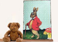 Bilder - Kinderbild Dekoration Hase  - ein Designerstück von Art-istique bei DaWanda