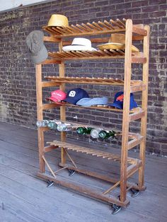 Vintage Wood Shoe Rack with Pegs - display your collection of shoes, hats, bottles, etc. in style!