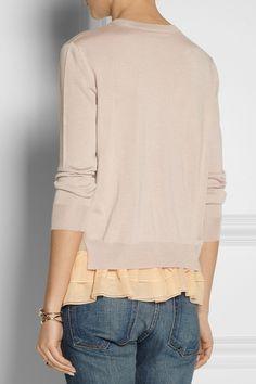 Miu Miu|Ruffle-trimmed cashmere and silk-blend sweater|NET-A-PORTER.COM