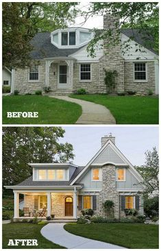 Trendy house renovation before and after fixer upper exterior makeover Ideas Home Exterior Makeover, Exterior Remodel, Style At Home, Fixer Upper, Stone House Plans, Diy Décoration, Stone Houses, Facade House, House Exteriors