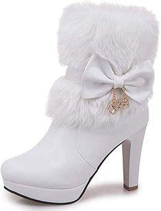 Dream-Store Girls Princess Rhinestones High Heel Winter Boot Outdoor Snow Warm Glitter Weather Boot