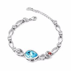 Buy NEVI Flower Fashion Swarovski Elements Rhodium Plated Charm Bracelet  Jewellery for Women And Girls (Blue Red Silver) Online at Low Prices in  India ... 515c1adacc