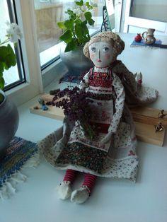 Текстильная авторская кукла. Хлопок, лен.