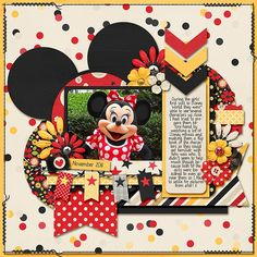 Minnie - Scrapbook.com I like the chevrons and the stitched edges of the layout