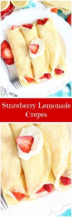 Lemon zested crepes, filled with a lemon Mascarpone and whipped cream filling, topped with fresh strawberries!