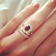 Vintage wedding set - rhodolite garnet and yellow gold.  Love it!