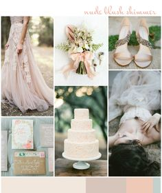 Nude Blush Shimmer | Wedding Inspiration: Color Ideas #wedding #blush #bride