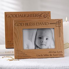 Buy Godchild Personalized Picture Frames you can customize with your own text to create a unique gift for your Gochild. Christening Gifts For Boys, Boy Christening, Baptism Gifts, Wood Picture Frames, Picture On Wood, Godmother Ideas, Personalized Picture Frames, Godchild, Daughter Of God