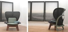 Chair | Diverse sitting positions with wool pillows to accommodate. Kate Chair - Studio Sebastian Herkner