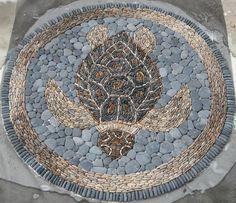 Wonderful stone mosaic loggerhead turtle by Kevin Carman